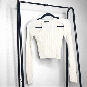 Nasty Gal White Ribbed Cut Out Cropped Sweater